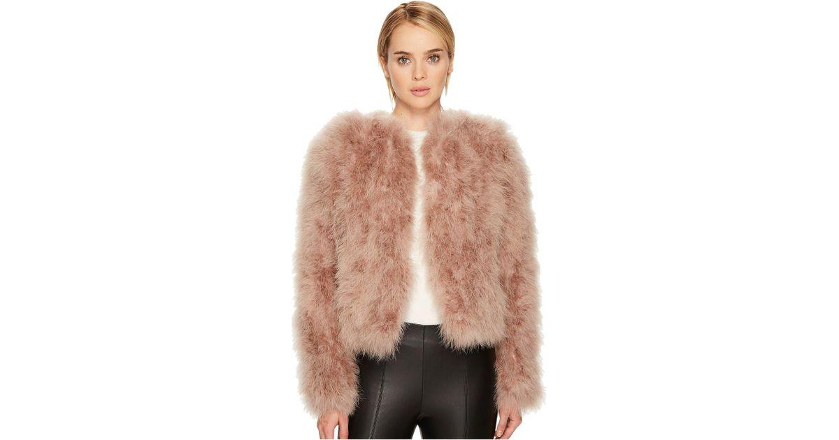 bd484127aa2 Lamarque Genuine Turkey Feather Jacket in Pink - Lyst