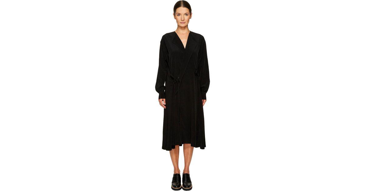 8a3e0b4d1d0b Lyst - Y's Yohji Yamamoto Side Tie Flare Shirtdress in Black