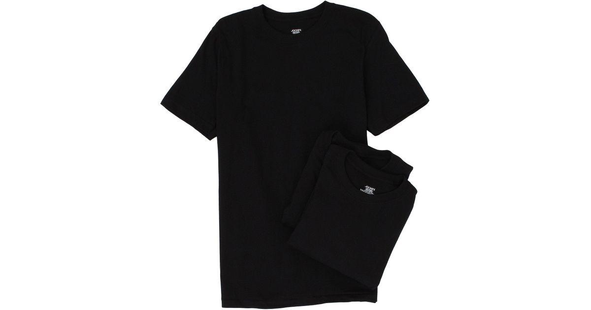ec9455d2a Jockey Cotton Crew Neck T-shirt 3-pack (black) Men s Underwear in Black for  Men - Lyst