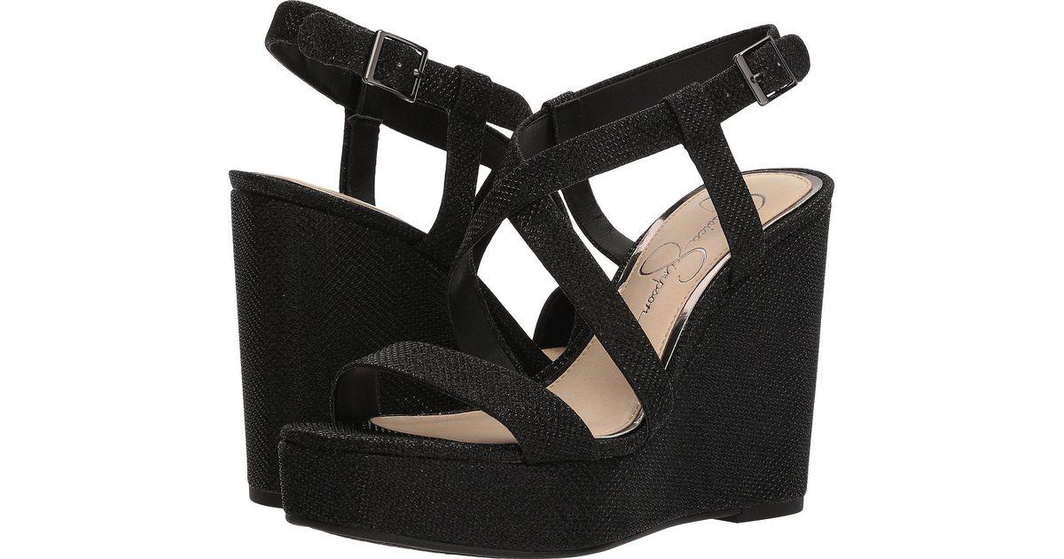 22b537b5191 Lyst - Jessica Simpson Salona Wedge Sandal in Black - Save 49%