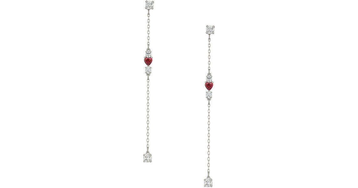 15f9c286a Swarovski Love Pierced Earrings (rhodium Plating/white) Earring - Lyst