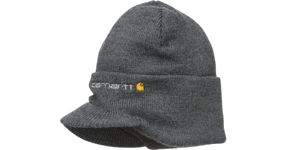 Lyst - Carhartt Knit Hat With Visor (coal Heather) Caps in Black for Men cfc0da927c2