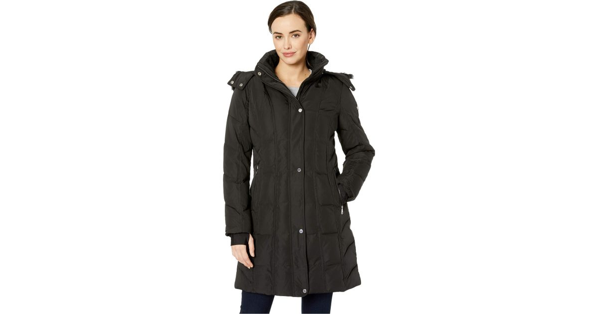58ffc848108 Lyst - Calvin Klein Faux Fur Trimmed Down Walker Coat With Vertical Pipping  Detail (thistle) Women s Coat in Black