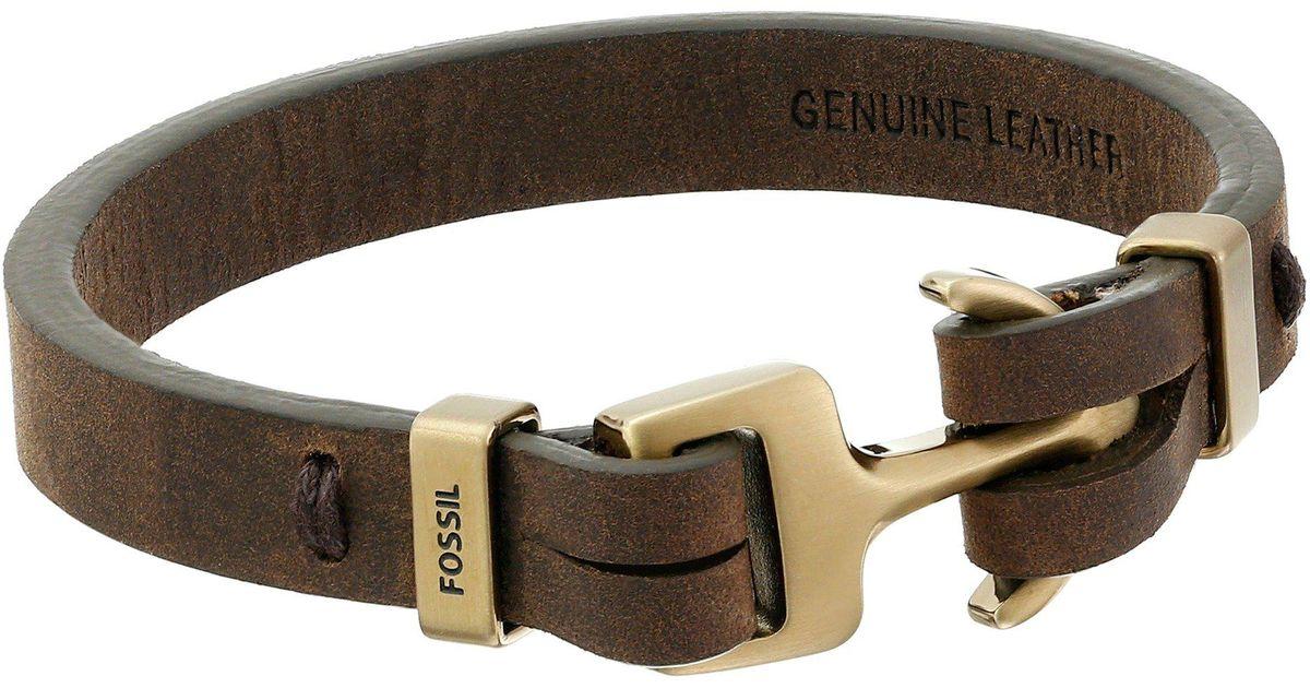 67243593486fe2 Fossil Anchor Bracelet in Brown for Men - Lyst