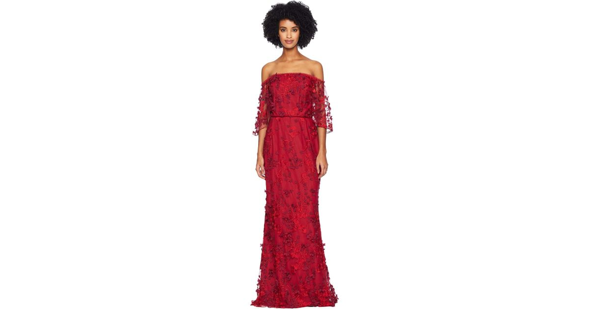9d962596 Lyst - Marchesa notte Off The Shoulder Flutter Sleeve Embroidered Gown (red)  Women's Dress in Red