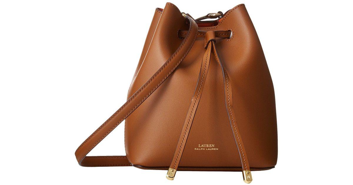 8e3086a27f Lauren by Ralph Lauren Debby Ii Mini Drawstring Bag in Brown - Lyst