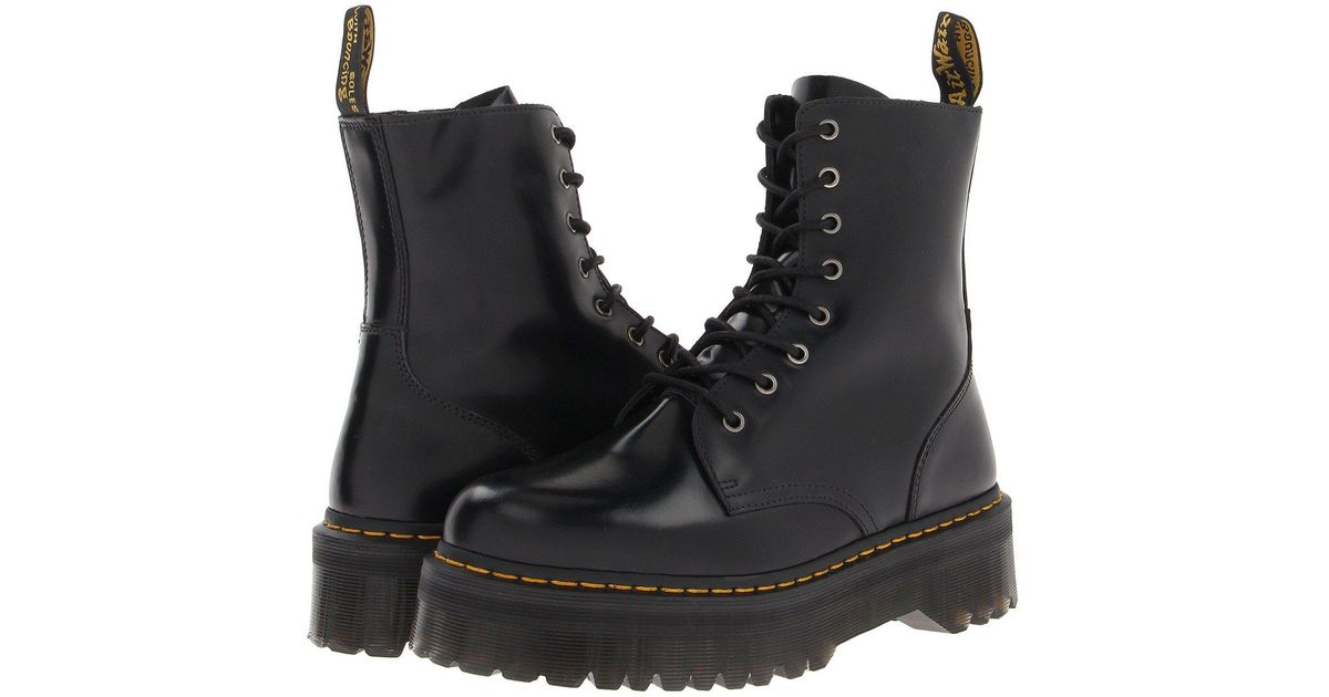 17c7a2860bc5 Lyst - Dr. Martens Jadon 8-eye Boot (black Polished Smooth) Lace-up Boots  in Black
