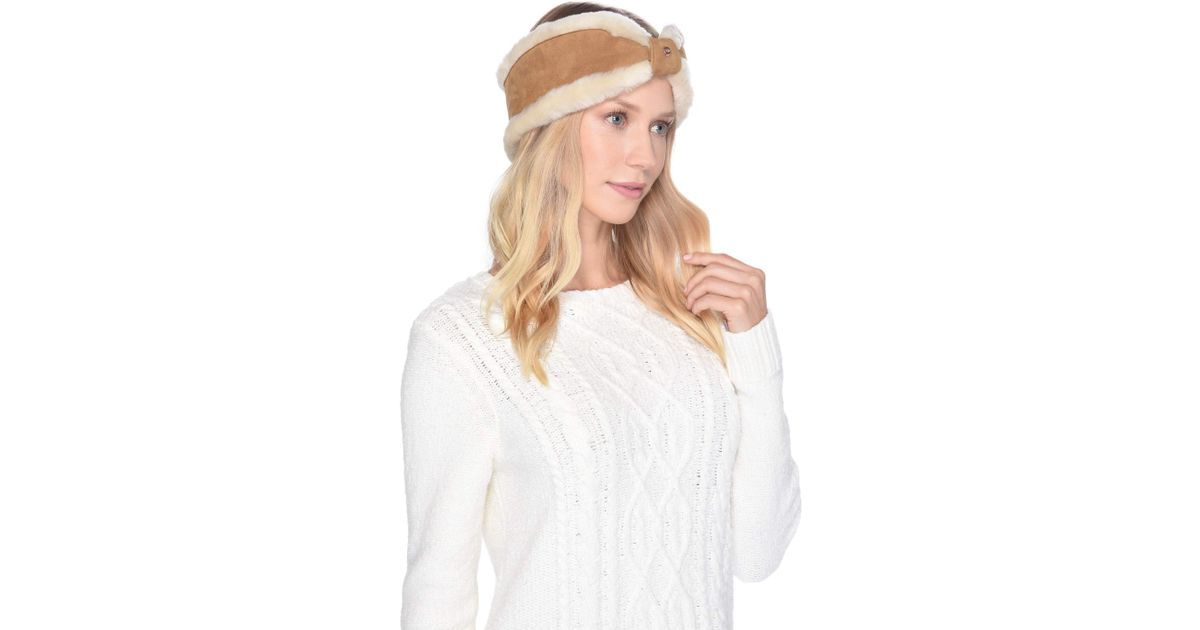 Lyst - UGG Bow Water Resistant Sheepskin Headband (black) Headband in Brown eff2daae34ff