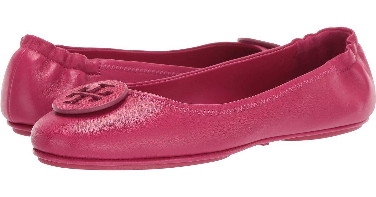 1edba2afa6c8 Lyst - Tory Burch Minnie Travel Ballet With Logo (metallic Sea Shell Pink) Women s  Flat Shoes in Pink