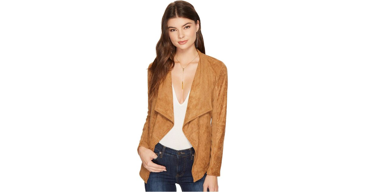 drapes in at suede jacket great terracotta justfab draped faux get products deals front