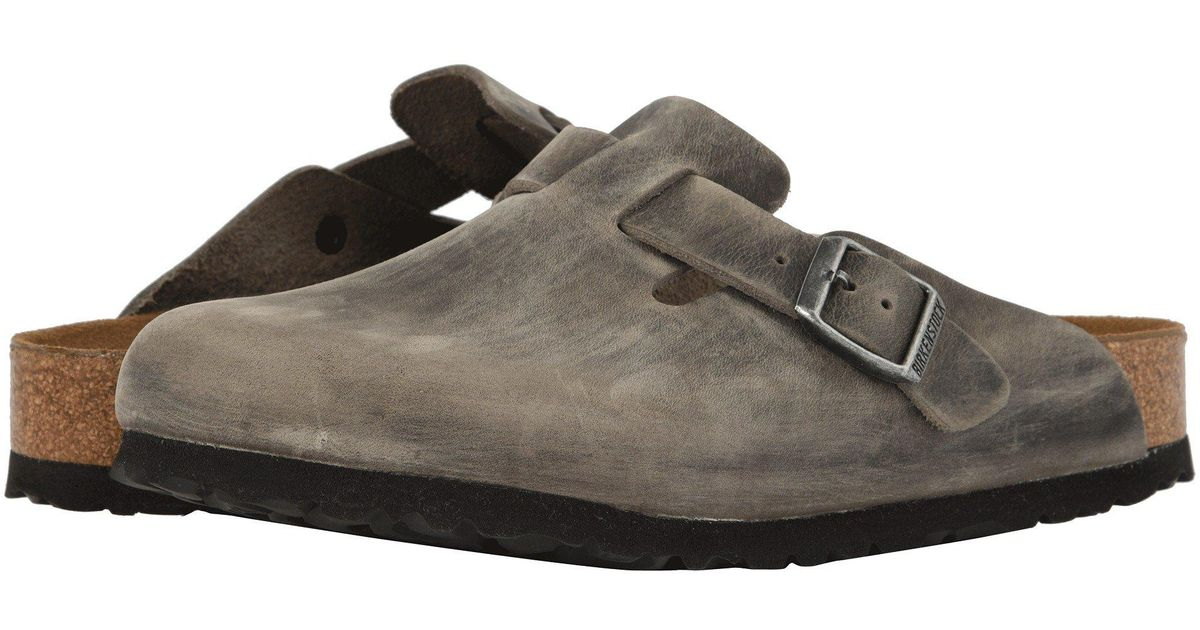 af24f672c9f56d Lyst - Birkenstock Boston Soft Footbed (iron Oiled Leather) Clog Shoes