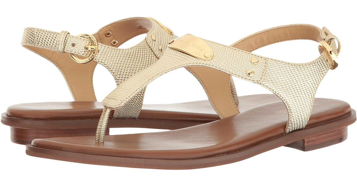 2ffea4f9d5e Lyst - MICHAEL Michael Kors Mk Plate Thong (tile Blue Saffiano) Women s  Sandals in Metallic