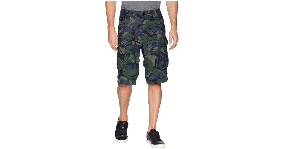 3781a90c45 G-Star RAW Rovic Relaxed 1/2 Shorts In Raw Denim/light Aged Olive All Over ( raw Denim/light Aged Olive All Over) Men's Shorts in Blue for Men - Lyst