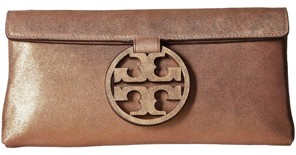 e74870f271d Lyst - Tory Burch Miller Metallic Clutch (seashell Pink) Clutch Handbags in  Pink
