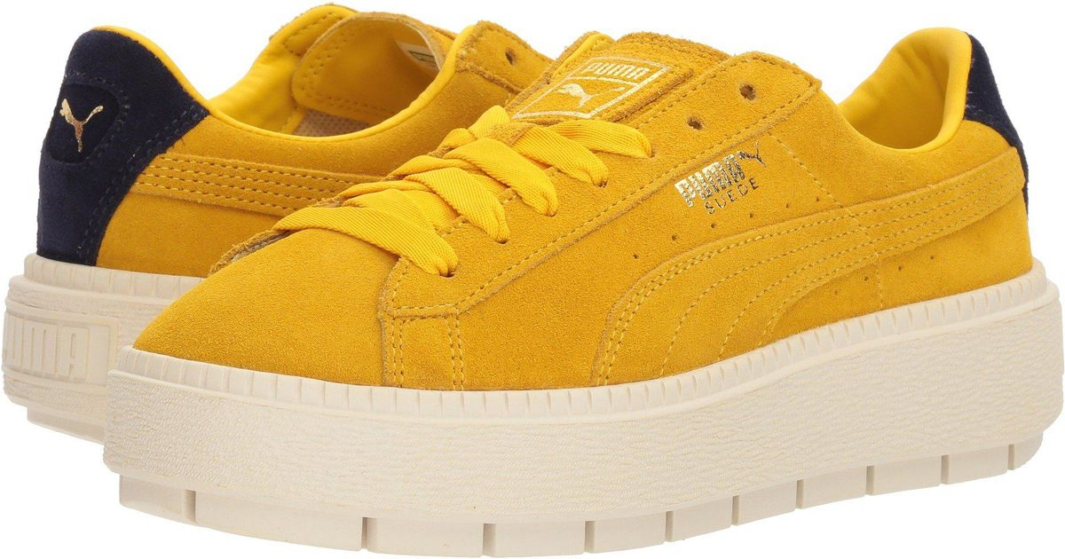 1ed70d8bd1e6 Lyst - PUMA Suede Platform Trace Bold in Yellow