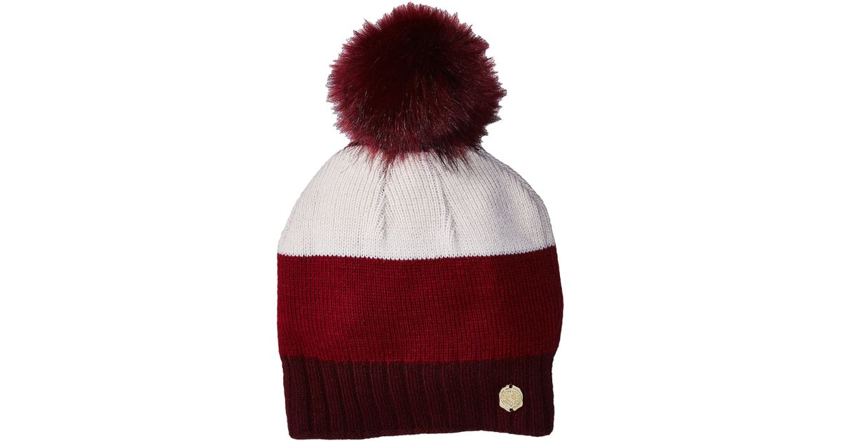 9cd865b547224 Lyst - Vince Camuto Classic Color Block Fur Pom Beanie in Red