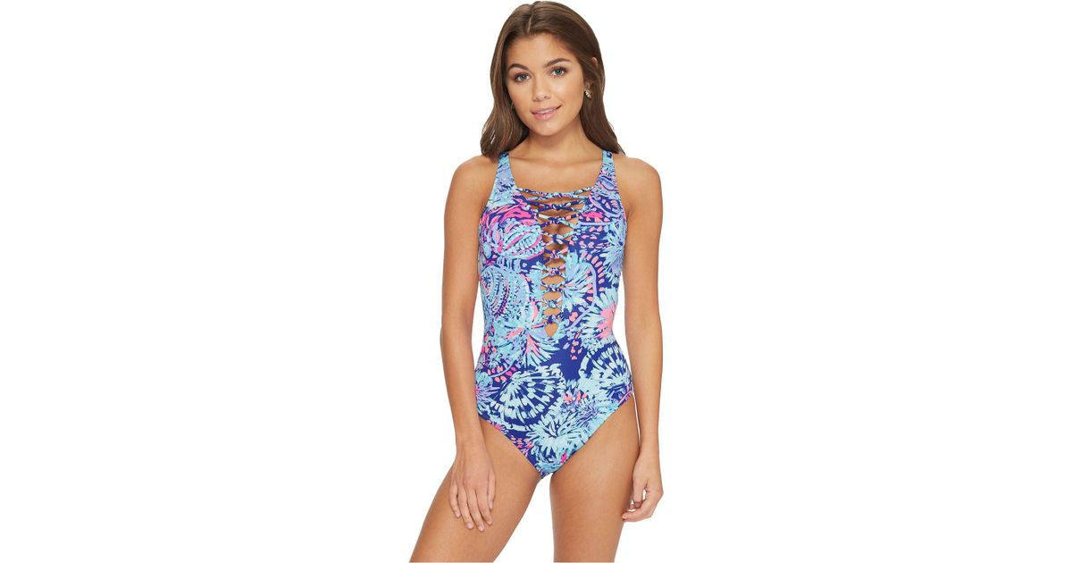 df37b682662 Lilly Pulitzer Isle Lattice One-piece Swimsuit (bennet Blue Celestial Seas)  Women's Swimsuits One Piece in Blue - Lyst