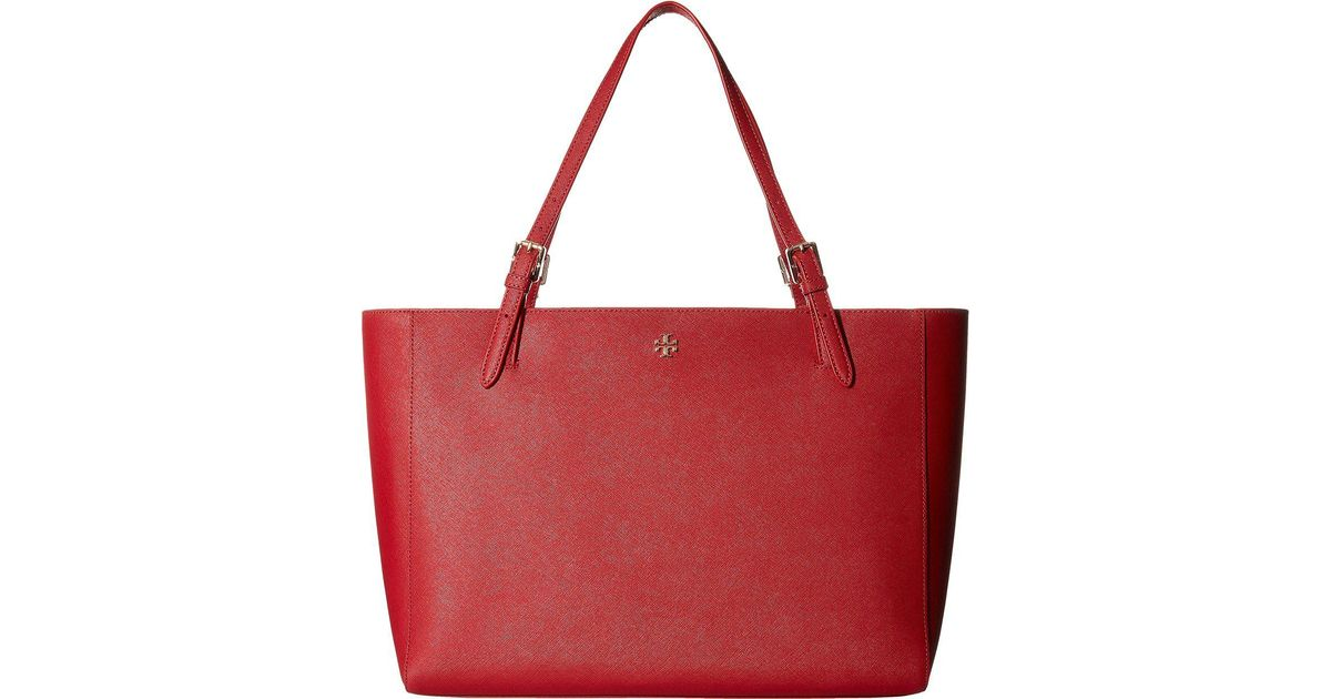 c23d3f7d798 Tory Burch York Small Buckle Tote in Red - Lyst
