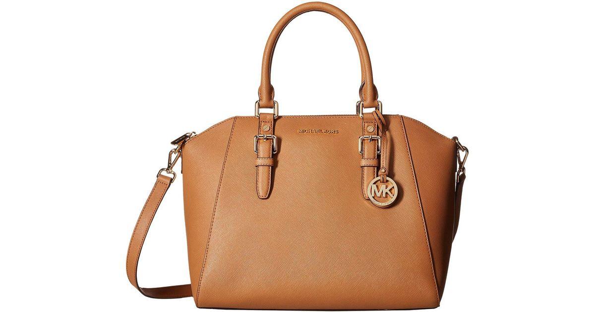 5a95396ad8ab Lyst - MICHAEL Michael Kors Ciara Large Top Zip Satchel (soft Pink) Satchel  Handbags in Brown