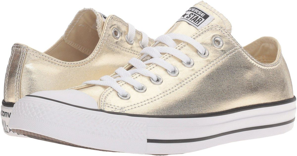 26e8face6bbf3b Lyst - Converse Chuck Taylor(r) All Star(r) Metallic Canvas Ox (light  Gold white black) Athletic Shoes for Men