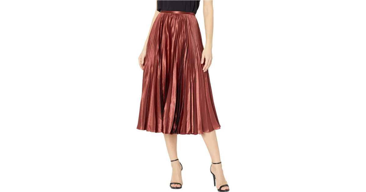 fd8241eed9 Vince Pleated Satin Midi Skirt Brick in Red - Save 25% - Lyst