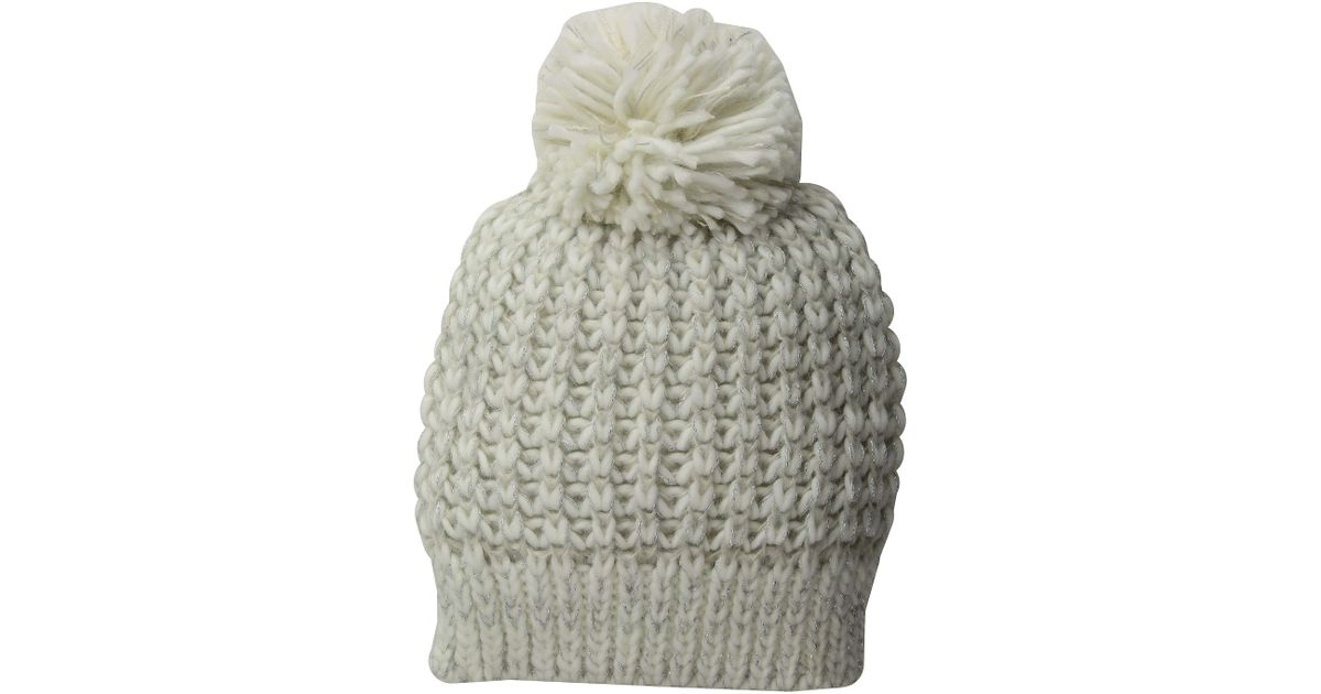 3c743b2ab16 Lyst - San Diego Hat Company Knh3604 Metallic Yarn Beanie With Pom (black) Beanies  in White