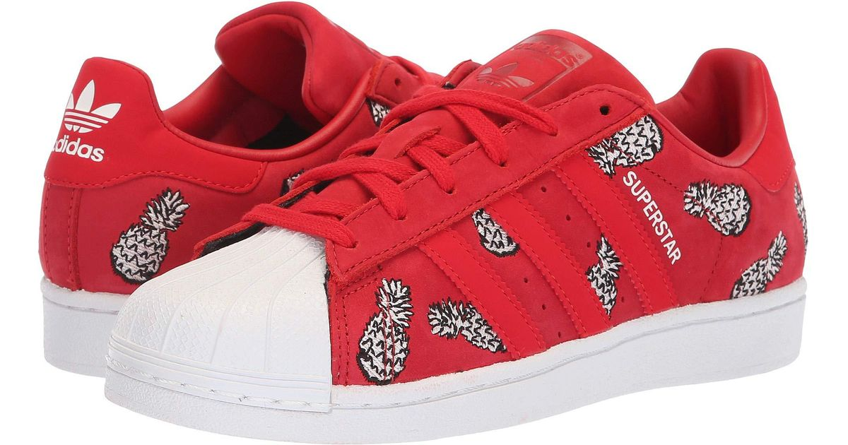 9c73c62f3a1 Lyst - adidas Originals Superstar W (white red Night silver Metallic)  Women s Classic Shoes in White