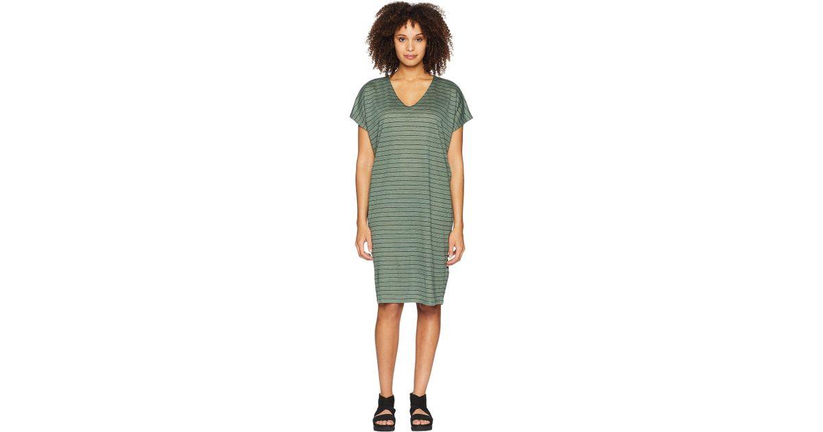 71ffd83486e Lyst - Eileen Fisher V-neck Knit Linen Dress in Green - Save 50%