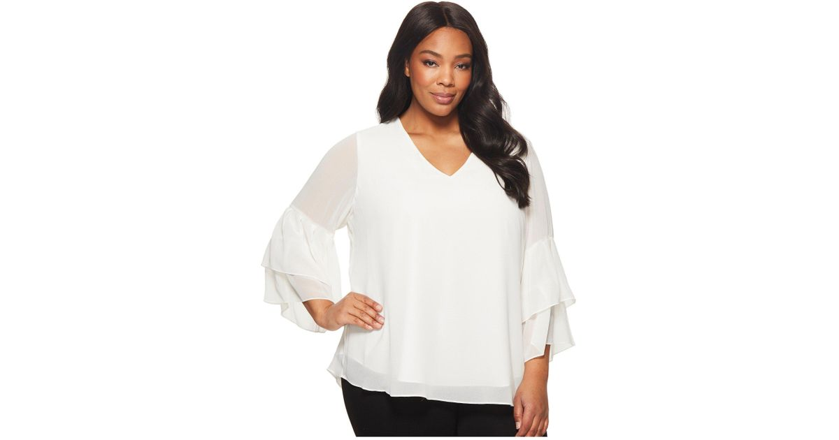 d0b1631f2fb Lyst - Calvin Klein Plus Size V-neck Blouse With Two Tier Sleeve in White