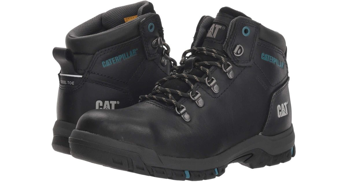Lyst Caterpillar Mae Steel Toe Wp Black Womens Work Boots In