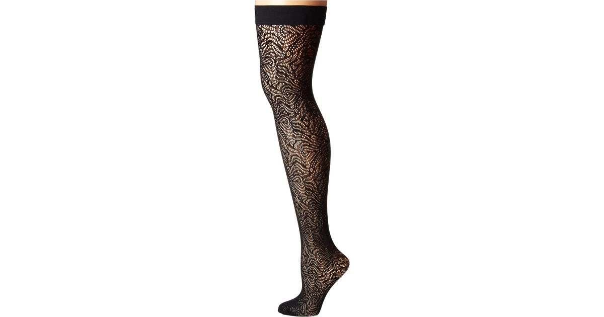bff38bb0d Lyst - Wolford True Blossom Stay-up (black) Hose in Black