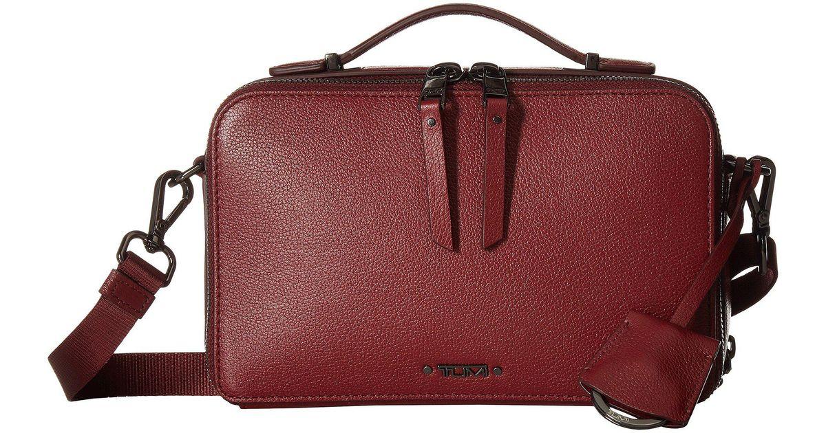 Lyst Tumi Voyageur Aberdeen Leather Crossbody Brick Red Cross Body Handbags In
