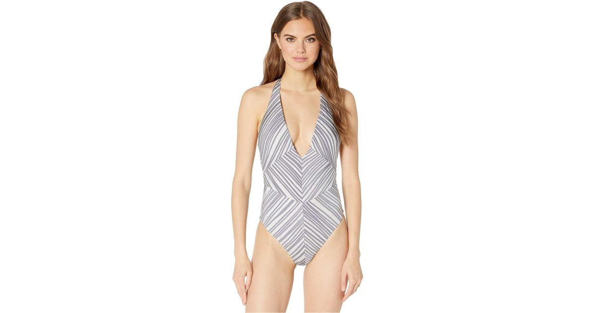 09bb766e2d4ea BCBGMAXAZRIA Motion Of The Ocean Plunge Front One-piece Swimsuit (cool)  Women's Swimsuits One Piece in Blue - Lyst