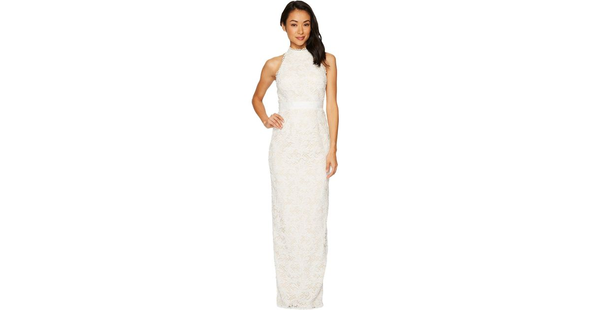 Lyst - Adrianna Papell Lace Halter Wedding Gown in White - Save 50.0%