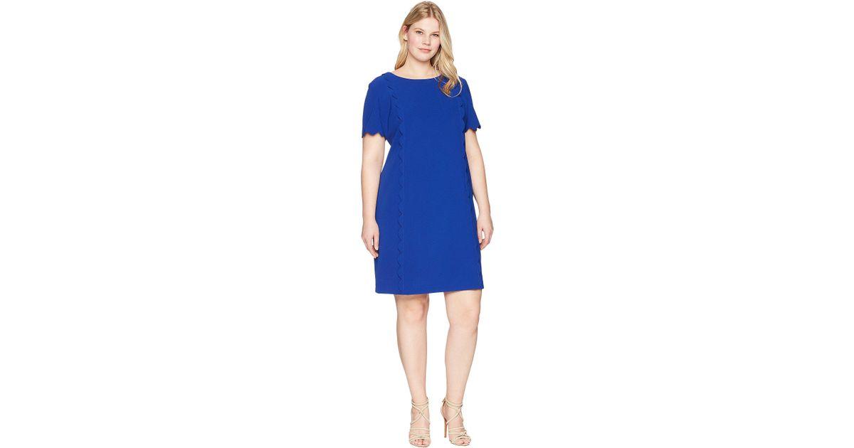e89216606df27 Lyst - Tahari Plus Size Scallop Trim Short Sleeve Shift Dress in Blue -  Save 44%