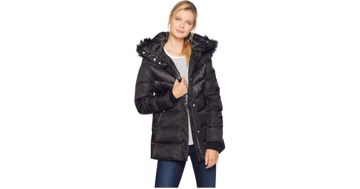 3c1b2ee772fa79 Lyst - Vince Camuto Short Down Jacket With Storm Cuff And Faux Fur R1331  (tricolor) Women's Coat in Black