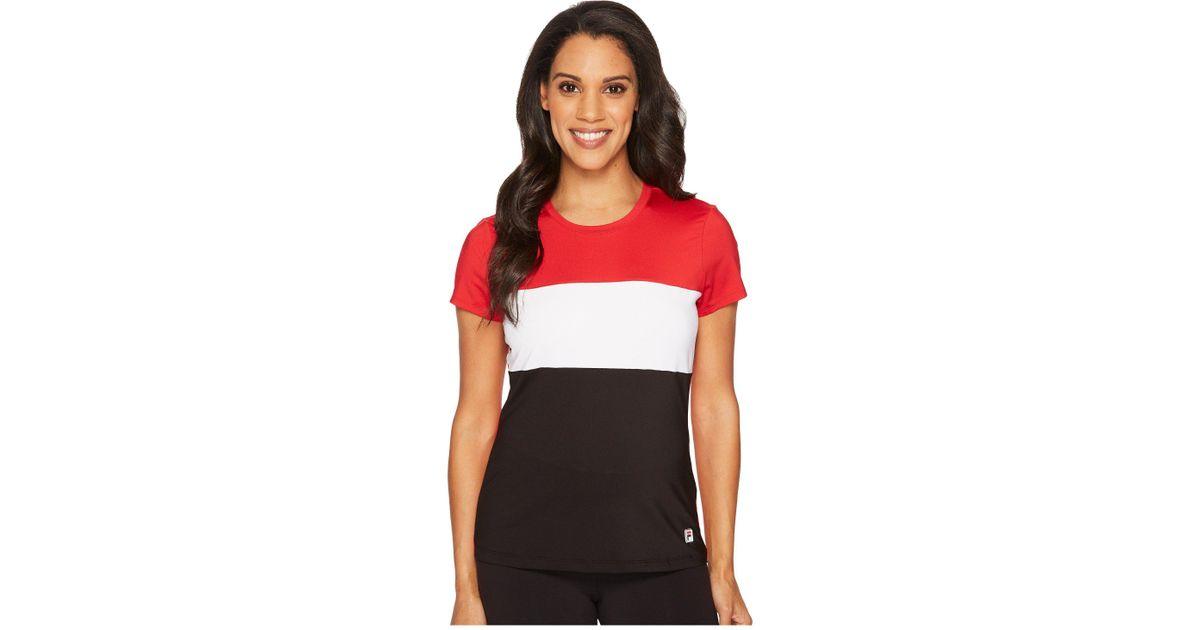 edc2078b Fila Heritage Tennis Cap Sleeve Top (crimson/white/black) Short Sleeve  Pullover in Red - Save 8% - Lyst