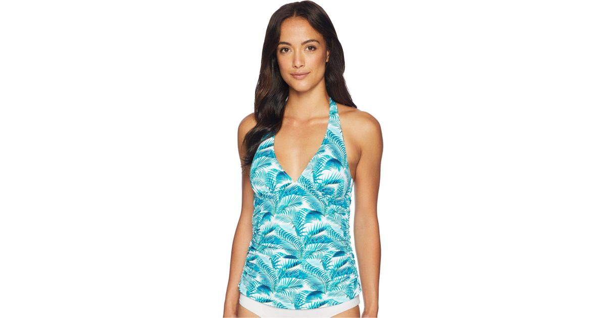 a1d777b83d8a4c Tommy Bahama Among Fronds Reversible Halter Tankini in Blue - Lyst