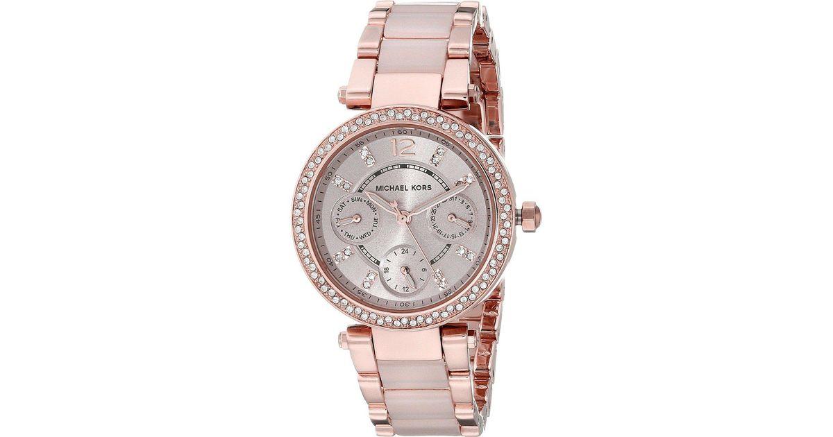 929725e7b896 Lyst - Michael Kors Mk6110 - Mini Parker (rose Gold blush) Watches in Pink