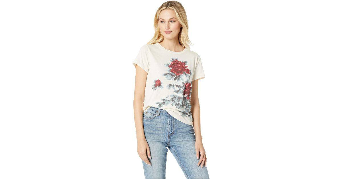b0012af059a Lucky Brand Waterbase Floral Tee in White - Save 46% - Lyst