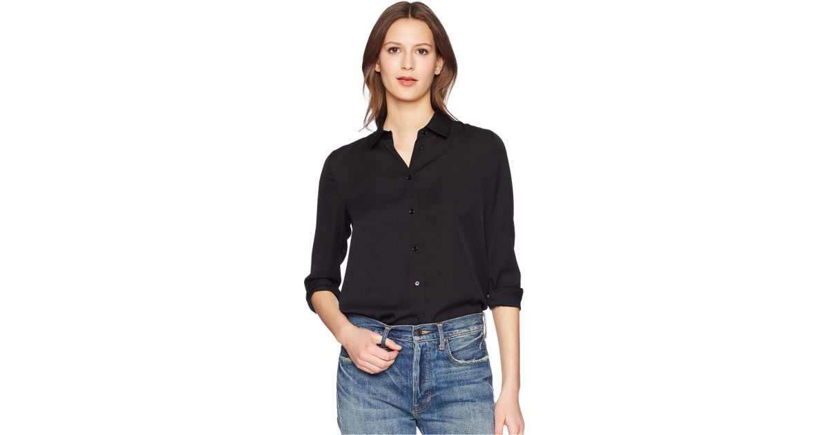 47138f9f65a353 Lyst - Vince Slim Fitted Blouse (black) Women s Blouse in Black