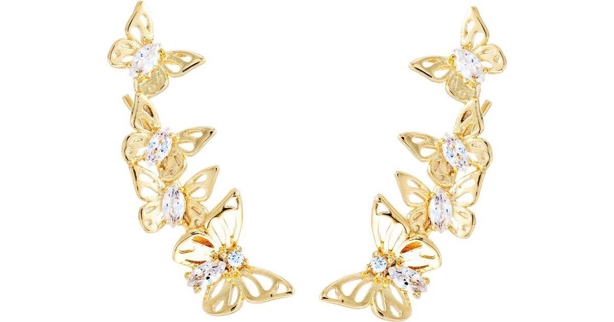 df18349a3 Kate Spade Social Butterfly Ear Pin Earrings in Metallic - Lyst