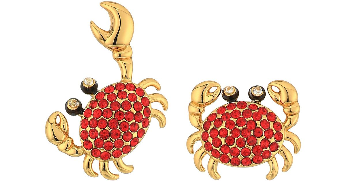 844c7625e Kate Spade Shore Thing Pave Crab Studs Earrings - Lyst