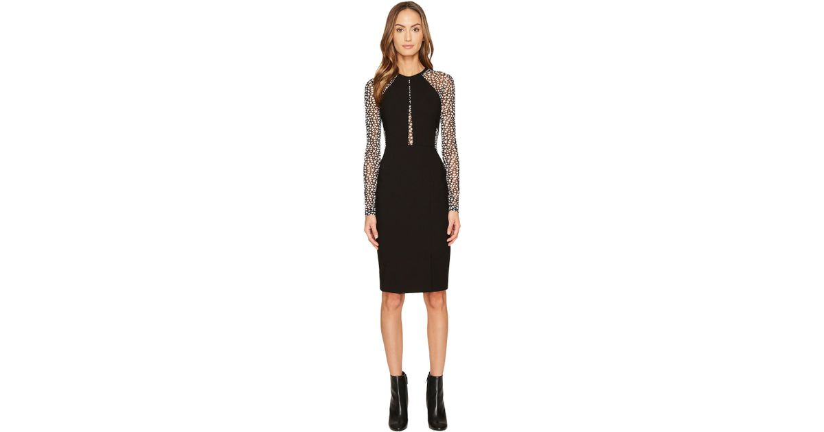 Lyst Yigal Azroul Long Sleeve Mechanical Stretch Dress In Black