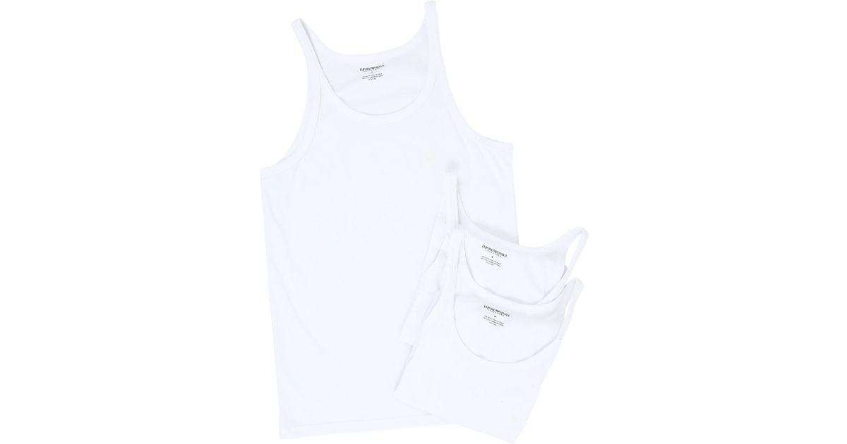 c6aad33371f11c Lyst - Emporio Armani 3-pack Tank Top (black black black) Men s Clothing in  White for Men - Save 12.244897959183675%