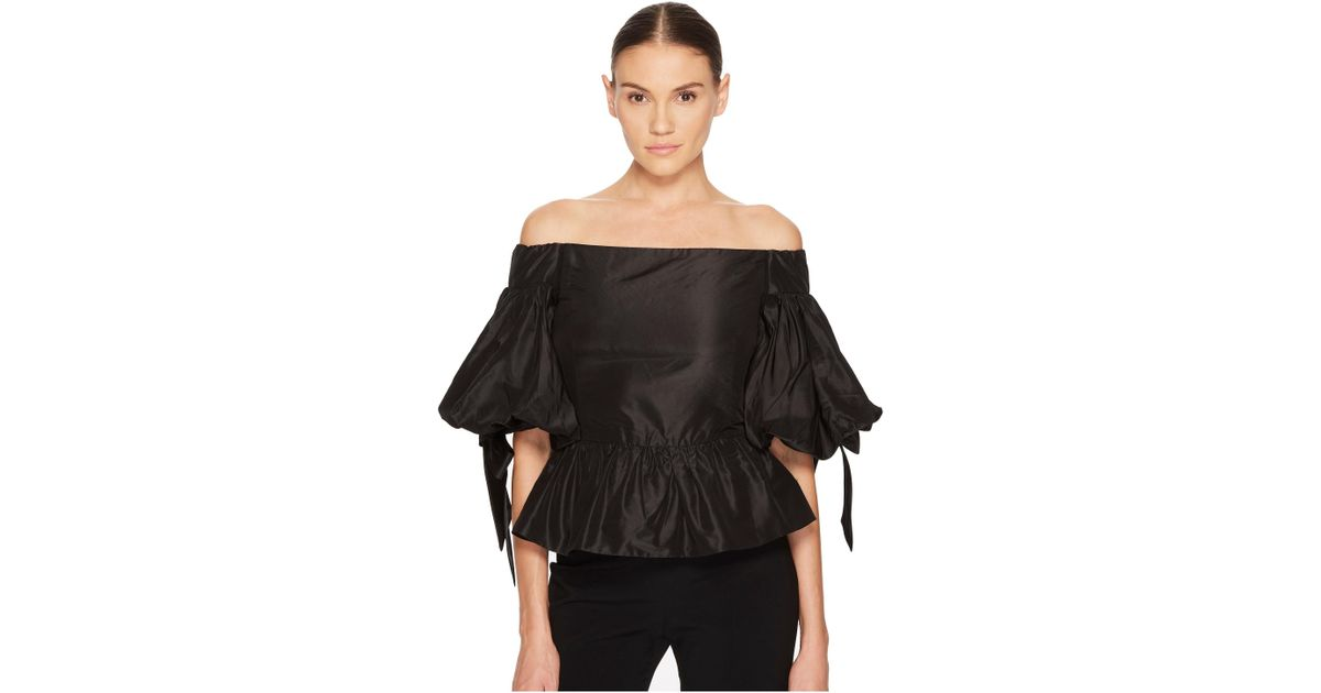cbdde453fac52 Lyst - Marchesa Solid Off The Shoulder Peplum Top In Taffeta in Black
