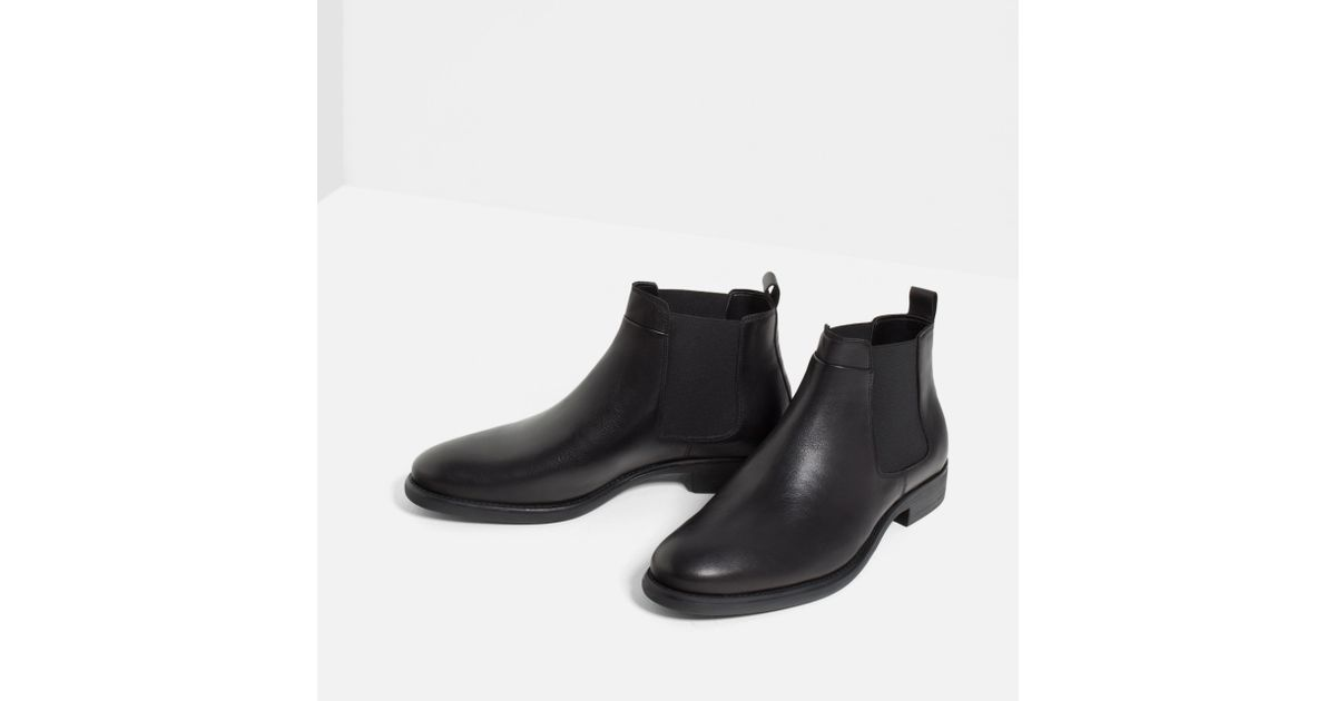 zara black leather chelsea boots in multicolor for lyst
