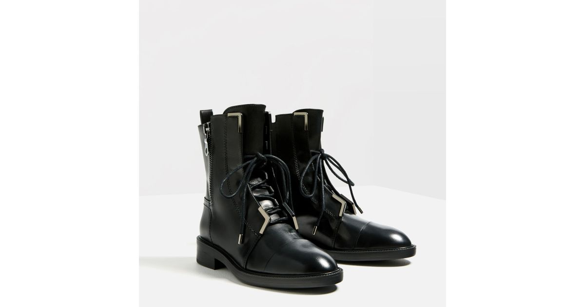 zara lace up leather high heel ankle boots in multicolour