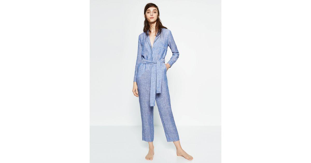 Zara linen studio jumpsuit in blue lyst for Zara mens shirts sale