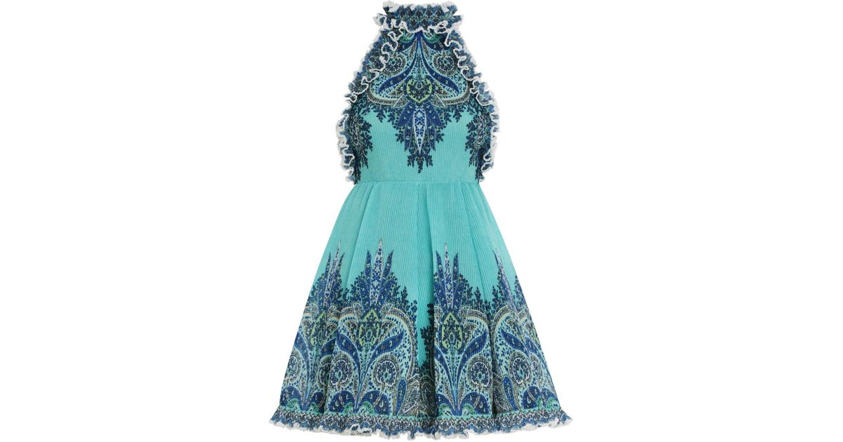 6118a39579bfea Zimmermann Moncur Ruffle Neck Mini Dress in Blue - Lyst